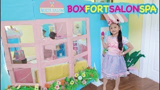 Bug's Unicorn Salon ! Boxfort Barbie Beauty Spa Pretend Play