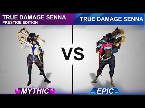 True Damage Senna Prestige Edition VS True Damage Skin Comparison | SKingdom - League of Legends