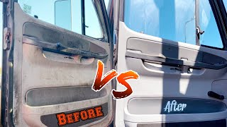 Before and after cleaning the dirtiest semi truck. Big rig detailing,idly satisfying. Detail vlog 61
