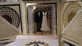 Romantic Shadow Box Wedding Card Showcasing Bridal Gown & Tuxedo