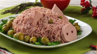 Салат Поросёнок (Свинка) на Новый год 2019 — самый вкусный и простой салат в виде Свиньи