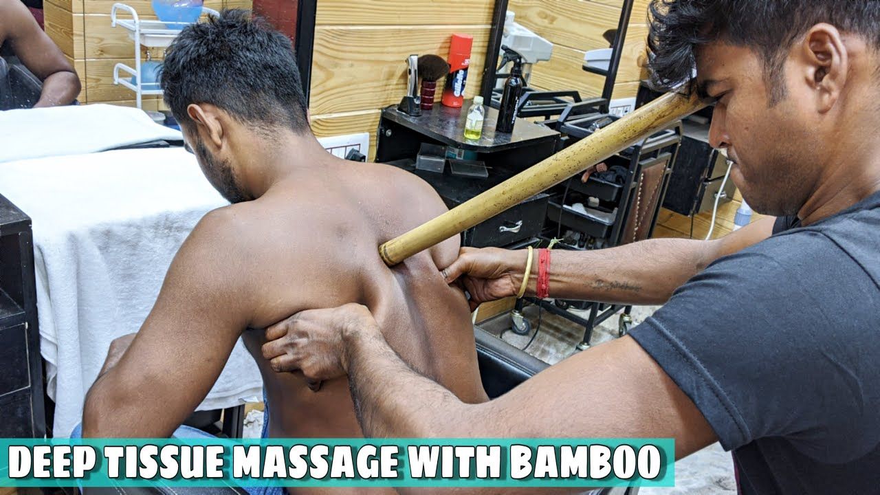 Deep Tissue Body Massage with Bamboo & Oil / Loud Neck & Ear Cracking | ASMR