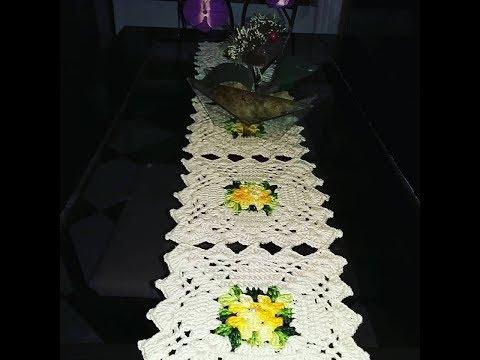 Caminho  de Mesa de crochê de Squares #aldacilenecroche