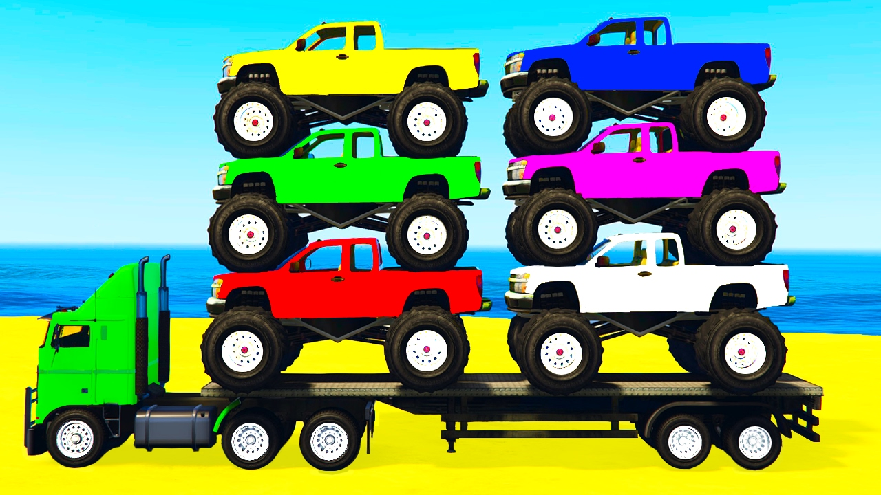 Learn Colors W Monster Truck Learn Numbers For Kids W Cars Cartoon Learning Video Youtube