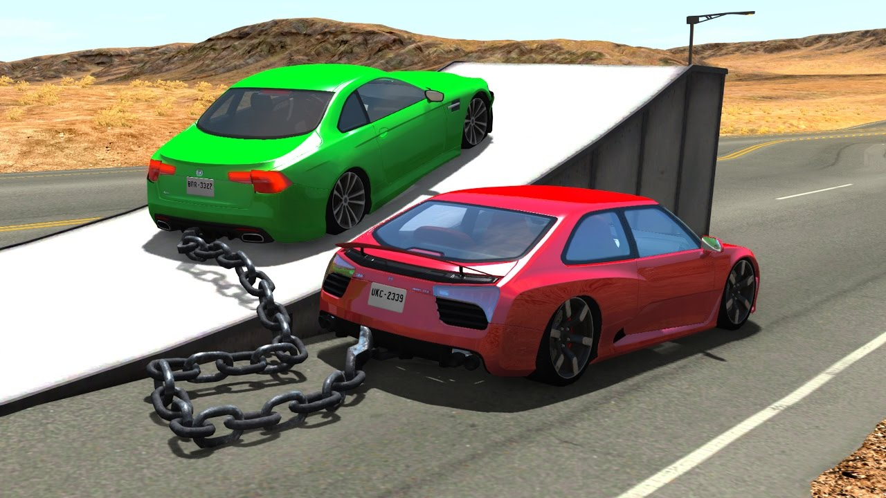 chained cars jumps crashes beamng drive youtube. Black Bedroom Furniture Sets. Home Design Ideas