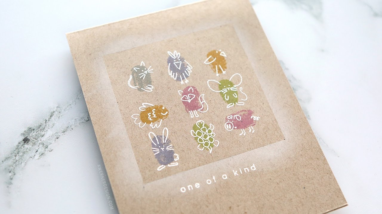 One Layer Card With Fingerprint Animals