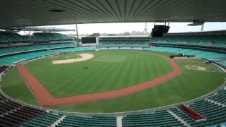 Sydney Cricket Ground transformation to baseball field - time lapse