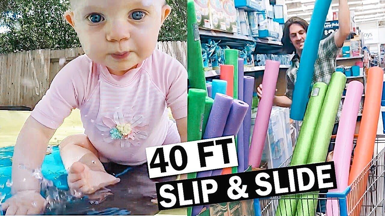 Slip and slide fun - YouTube