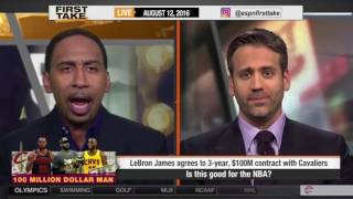LEBRON JAMES RE SIGNS WITH CLEVELAND CAVALIERS   ESPN FIRST TAKE