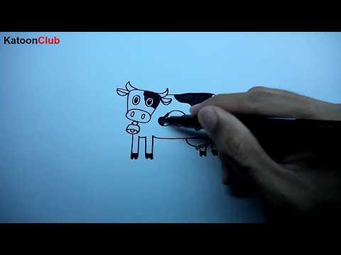 วัว สอนวาดรูปการ์ตูนน่ารักง่ายๆ ระบายสี How to Draw Cow Cattle Cartoon Easy Step by Step