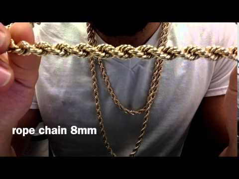 7d79ba779848b 10K Solid Gold 8mm rope chain - YouTube