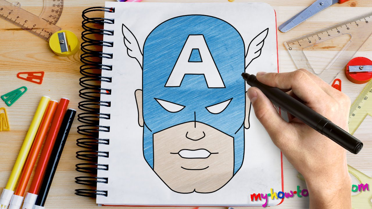 da308d44 How to draw Captain America - Easy step-by-step drawing lessons for kids