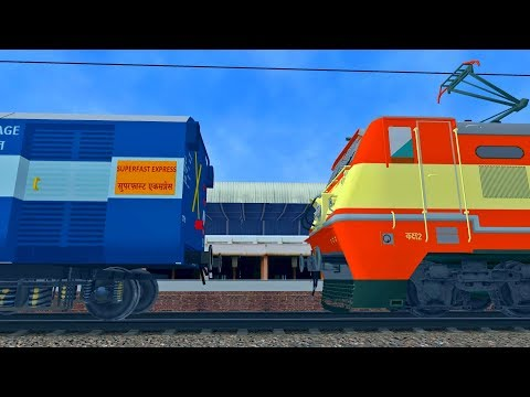 Jharkhand Swarnajayanti Exp Loco Change at Allahabad   MSTS Open Rails