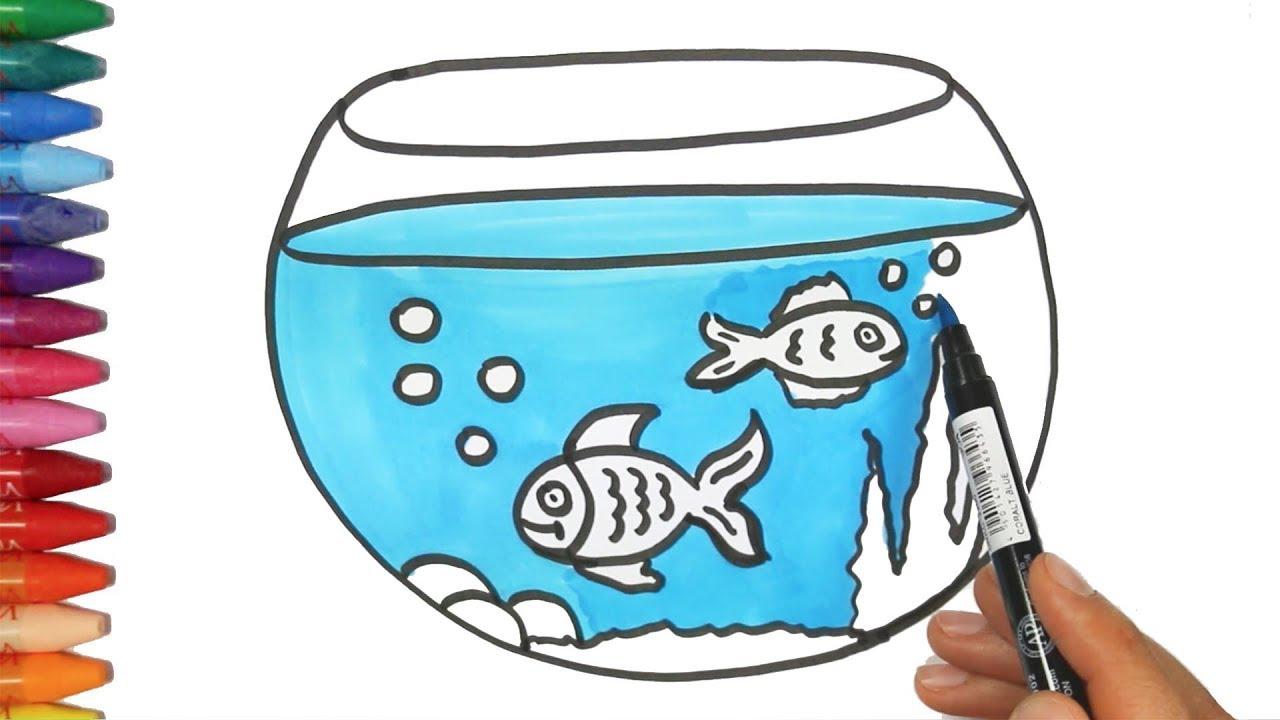 dibujar pescado y acuario juego de pintar con el pollito