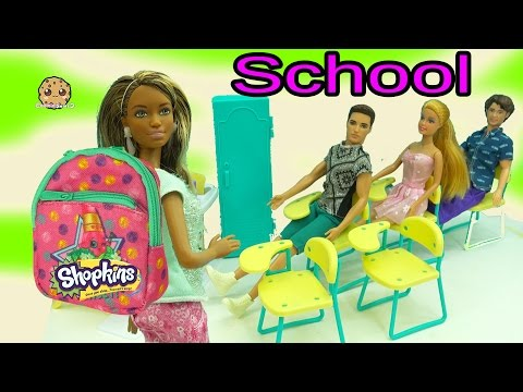 Thumbnail: Barbies Go To School with Mini Shopkins Backpacks - Teacher Opens Season 5 Packs with Blind Bags