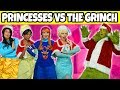 DISNEY PRINCESSES VS THE GRINCH. (Will the Grinch Steal Christmas from Elsa & Anna, Jasmine, Tiana?)