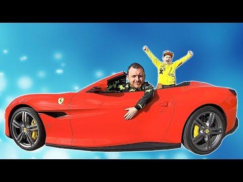 Ride on Ferrari Cabrio with Papa | Pretend Play with Cars #timkokid