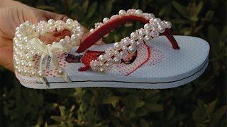 Bordado lindo para sandália infantil com miçangas de acabamento