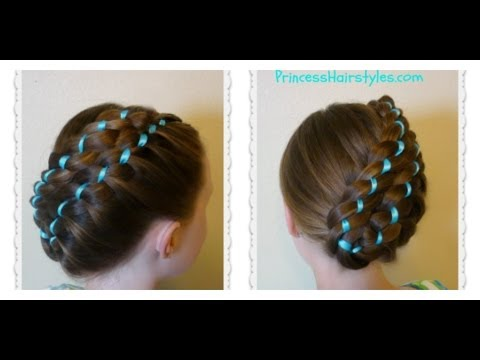Diagonal Stacked Ribbon Braid Updo Easter Hairstyles  YouTube
