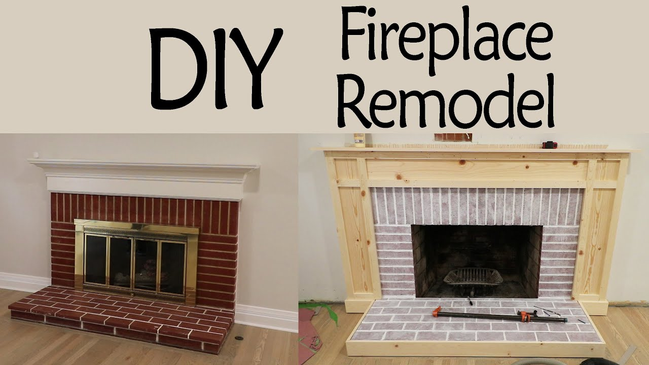 Diy Fireplace Remodel Pt 1 Whitewashing Brick Custom Surround