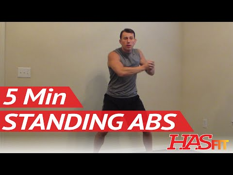 HASfit 5 Minute Standing Abs Workout Standing Ab Exercises Abdominal Exercise Standing Up