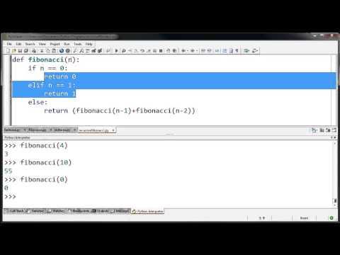 Пример рекурсивной функции Фибоначчи