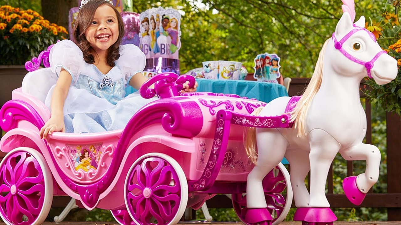 Disney Princess Royal Horse And Carriage Ride On Toy By Huffy Youtube