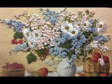 Вышивка лентами. Полевые цветы. МК