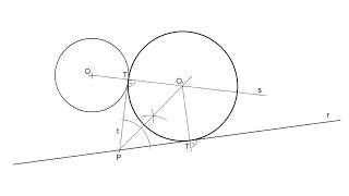 Circunferencia tangente a una recta y a otra circunferencia en un punto de tangencia dado