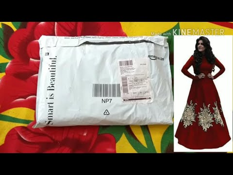 unboxing-semi-stitched-embroidery-gown-from-amazon-|-long-anarkali-gown-|-latest-gown-|-long-gaun
