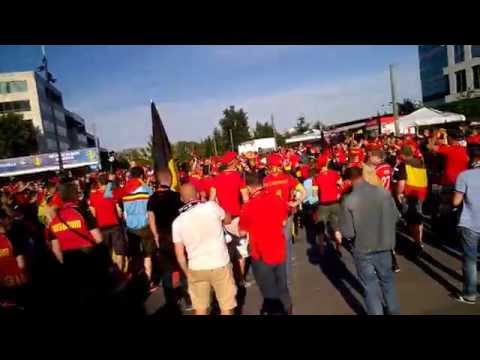 Belgian fans in front of Stade de France before France-Belgium