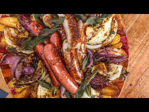 How To Make Sausages With Roasted Cabbage And Potatoes By Rachael