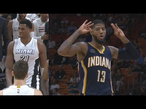 Hassan Whiteside 26 Points 22 Rebounds! Paul George Pacers vs Heat
