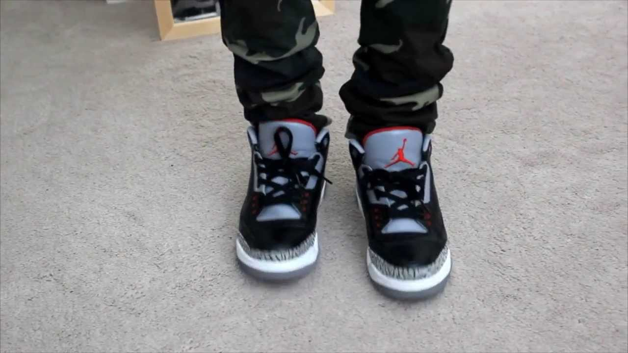 e7c0ffb91c43 Air Jordan Retro 3 Black Cement - On Foot! HD - YouTube