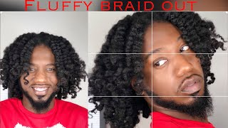 Fluffy Braid and curl on thick natural hair. (4a, 4b, 4c friendly)