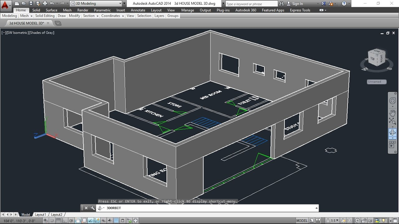 Dwg plans autocad 3d model 3dmodeling t for Tutorial for home design 3d