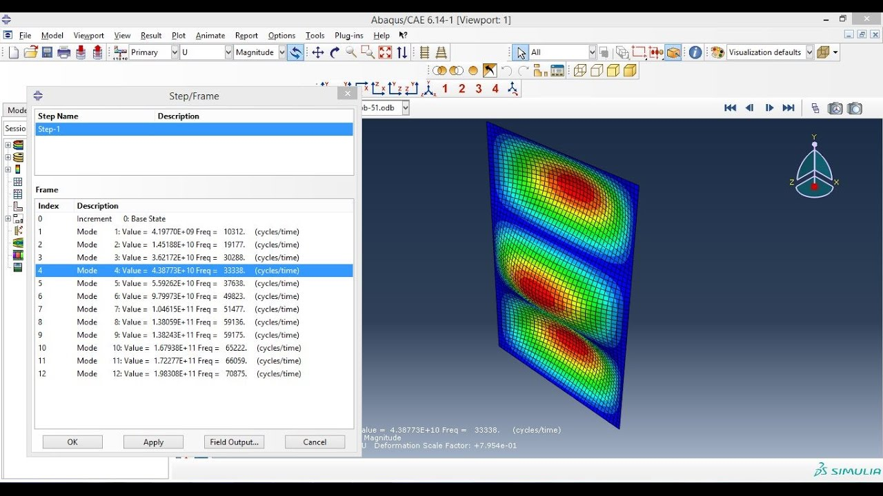 Abaqus Tutorial Videos - Finding Frequency of a Plate (3D Shell) In Abaqus