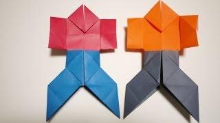 やっこさんとはかまの折り方です。最後の方だけ折り方が違います。 How to fold a paper yakko and hakama.