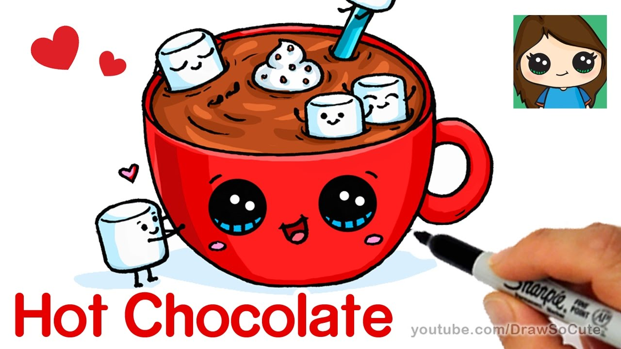 How To Draw Hot Chocolate With Marshmallows Cartoon Food