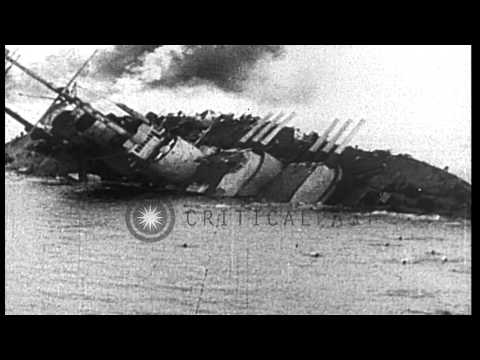 Austro-Hungarian Battleship is torpedoed and capsizes in World War I HD Stock Footage