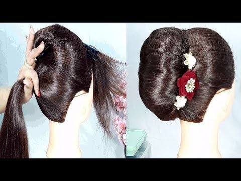 new french bun hairstyle with trick || hair style girl || prom hairstyles || new hairstyles thumbnail