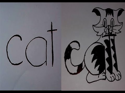 How To Draw The Word Cat Into A Cat 3d Arts For The Kids Youtube