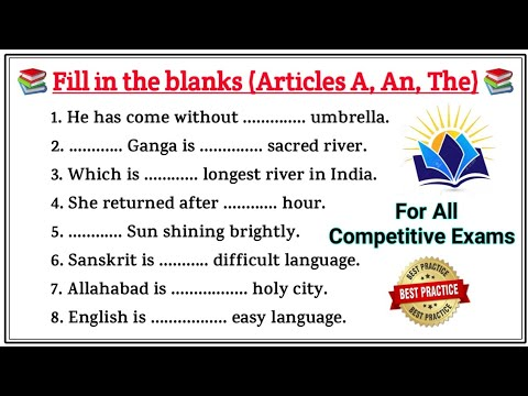 Articles A An The Questions | Articles Practice Questions Set | Articles A An The English Grammar