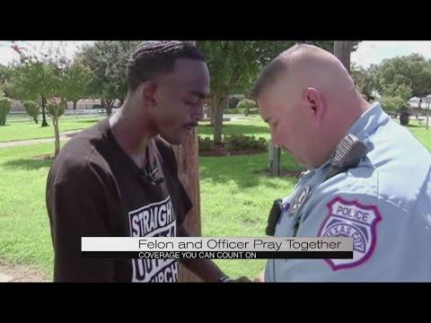Former felon prays with officer