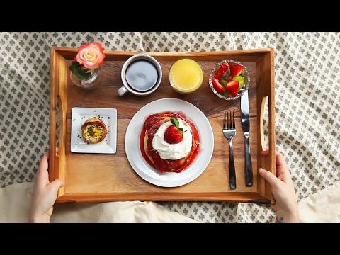 Strawberry Shortcake Pancake Breakfast In Bed