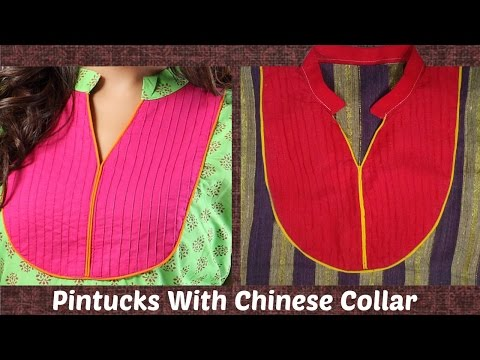 How To Cut And Stitch Pintucks Neckline With Chinese Collar | Piping