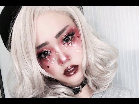 Red Glitter Tears Makeup Tutorial