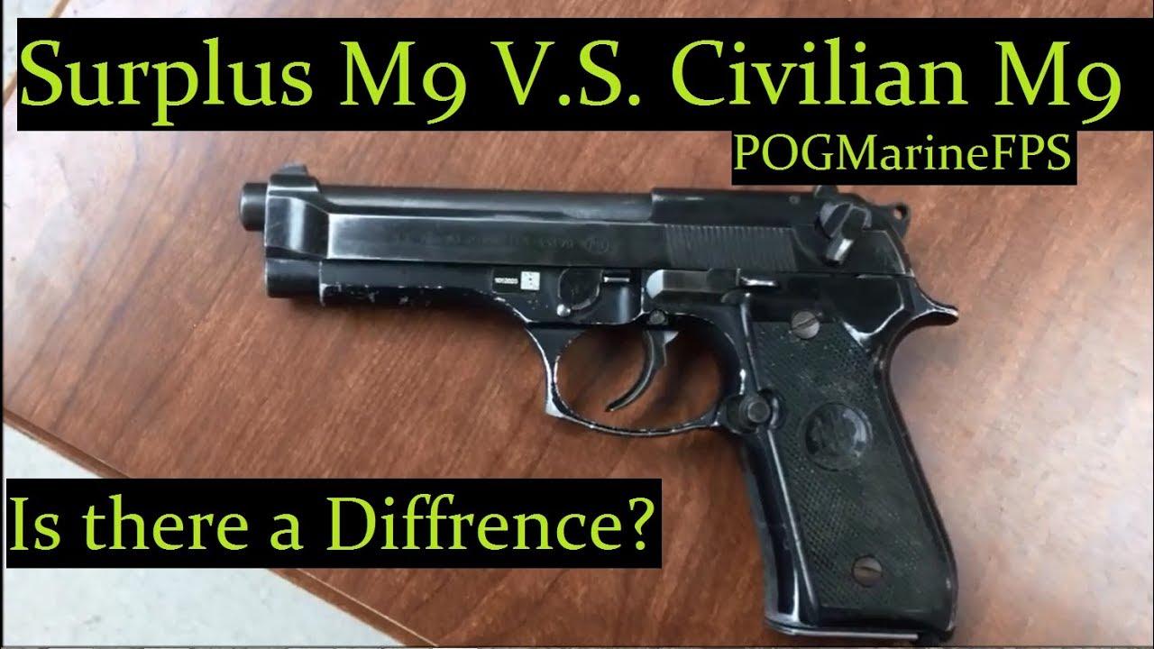real issued m9 service pistol vs m9 commercial beretta 9mm handgun