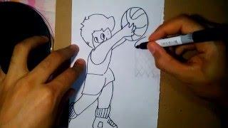 como dibujar un basketbolista - how to draw a basketball player