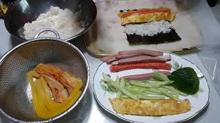 옆구리 터진다! 맛있는 김밥만들기, making gim…